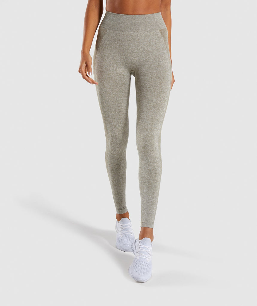 Gymshark Flex High Waisted Leggings - Washed Khaki Marl/Blush Nude 2