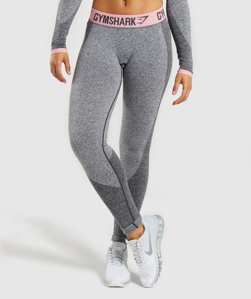 Gymshark Flex Leggings - Charcoal Marl/Peach Pink 1