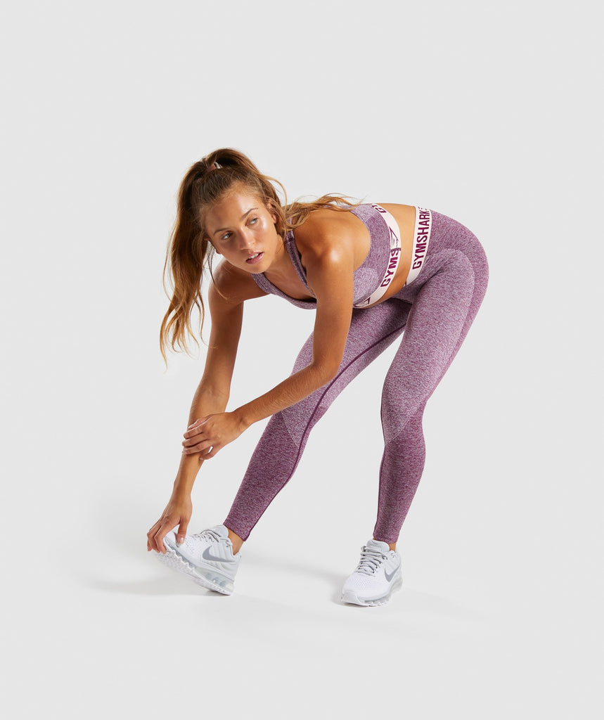 Gymshark Flex Leggings - Dark Ruby Marl/Blush Nude 5
