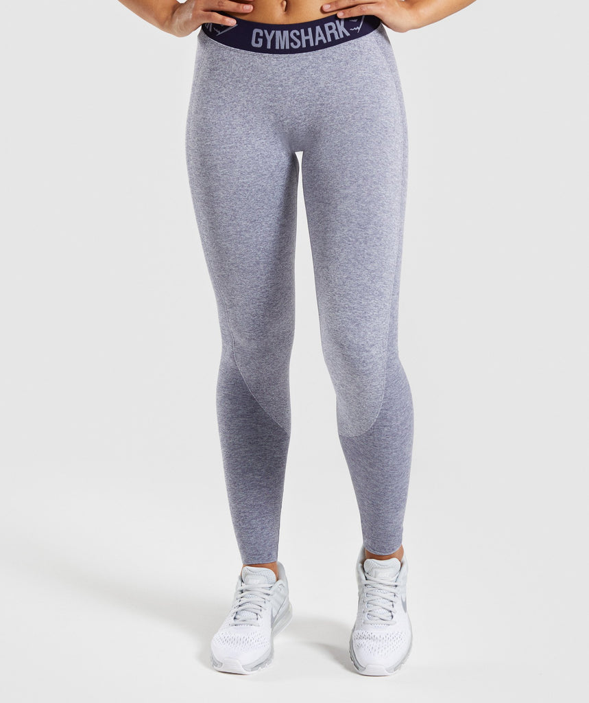 Gymshark Flex Leggings - Steel Blue Marl/Evening Navy Blue 1