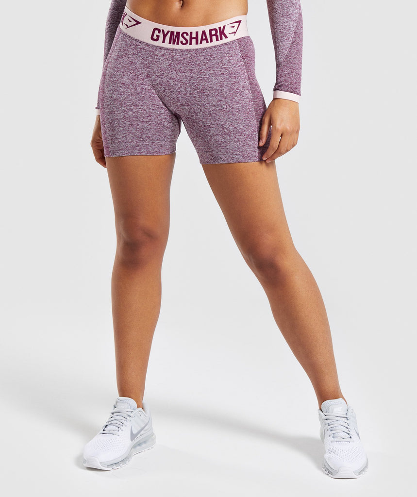 Gymshark Flex Shorts - Dark Ruby Marl/Blush Nude 1