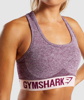 Gymshark Flex Sports Bra - Dark Ruby Marl/Blush Nude 11