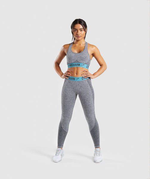 Gymshark Flex Sports Bra - Charcoal Marl/Dusky Teal 3