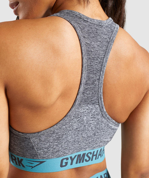 Gymshark Flex Sports Bra - Charcoal Marl/Dusky Teal 4