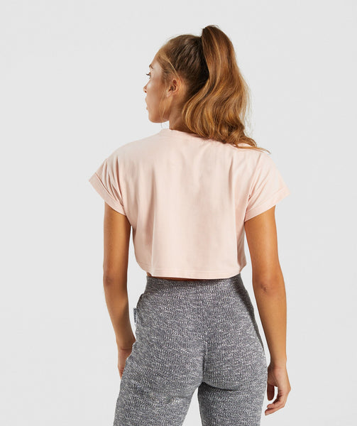 Gymshark Fraction Crop Top - Blush Nude/White 1