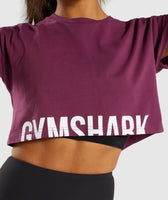 Gymshark Fraction Crop Top - Dark Ruby/White 11