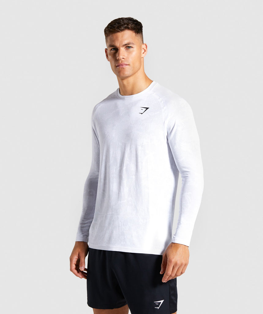 Gymshark Geo Lightweight Seamless Long Sleeve T-Shirt - White 1