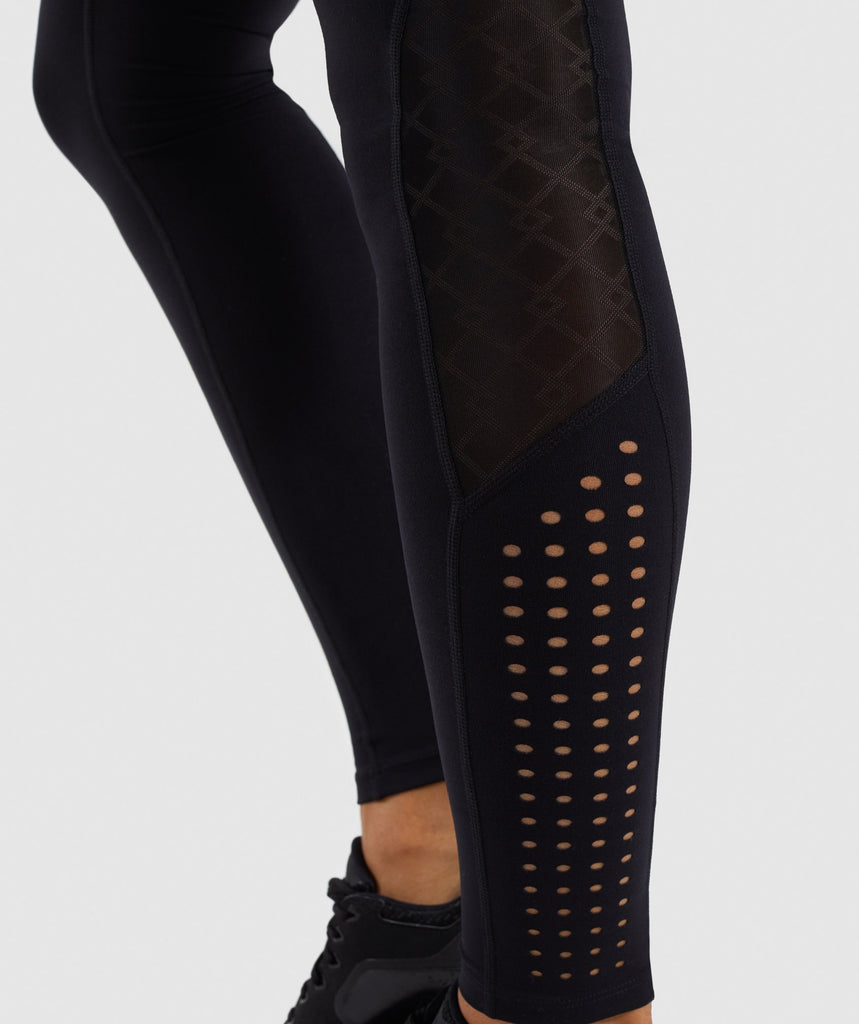 Gymshark Geo Mesh Leggings - Black 5