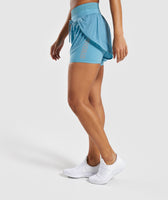 Gymshark Geo Mesh Two In One Short - Dusky Teal 9