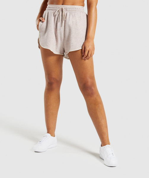 Gymshark Heather Dual Band Shorts - Blush Nude Marl 4