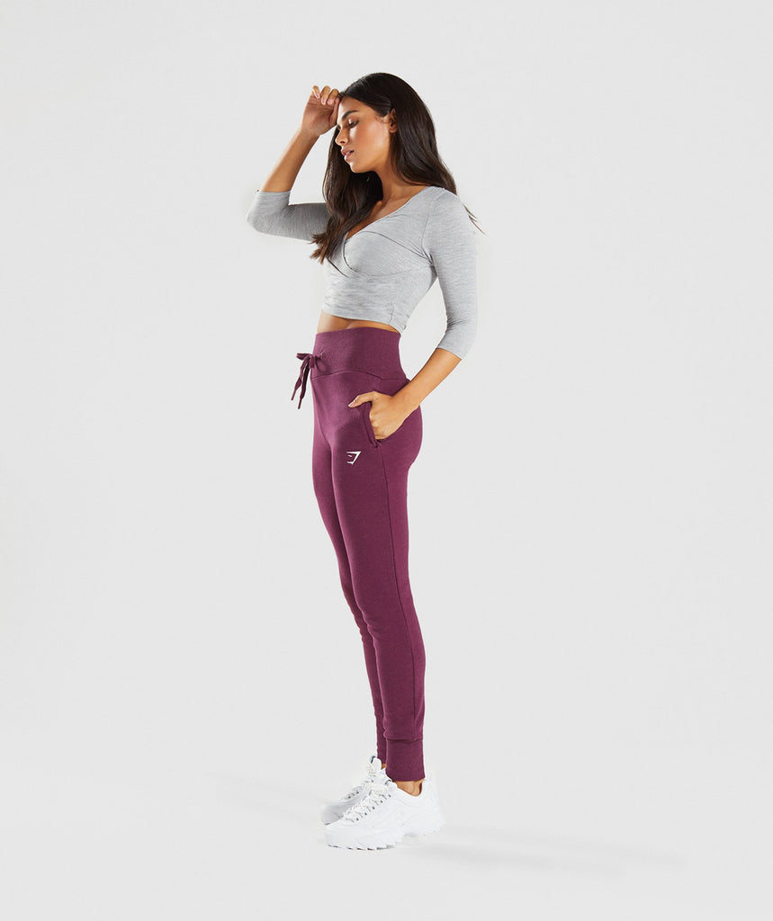 Gymshark High Waisted Joggers - Dark Ruby Marl 5