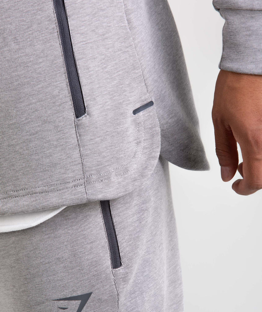 Gymshark Take Over Zip Hoodie - Light Grey Marl 5