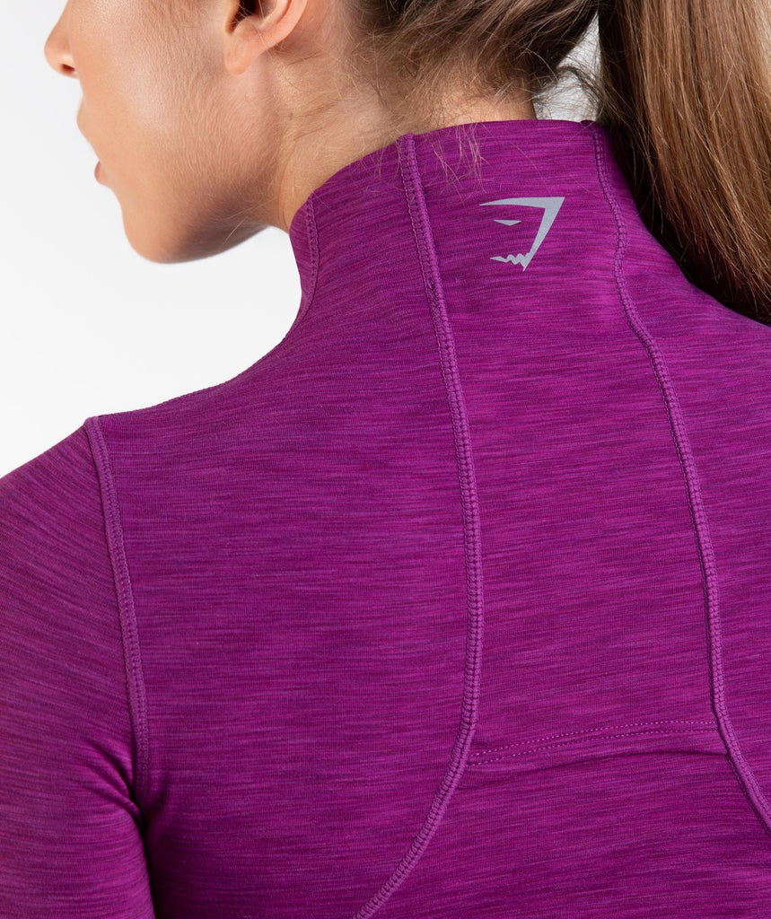 Gymshark Limit 1/2 Zip Pullover - Deep Plum Marl 6