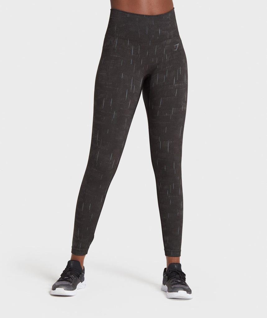 Gymshark Illumination Seamless Leggings - Black/Grey 1