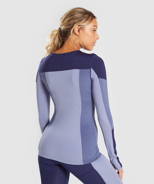 Gymshark Illusion Long Sleeve Top - Evening Navy Blue/Steel Blue/Night Shadow Blue 1