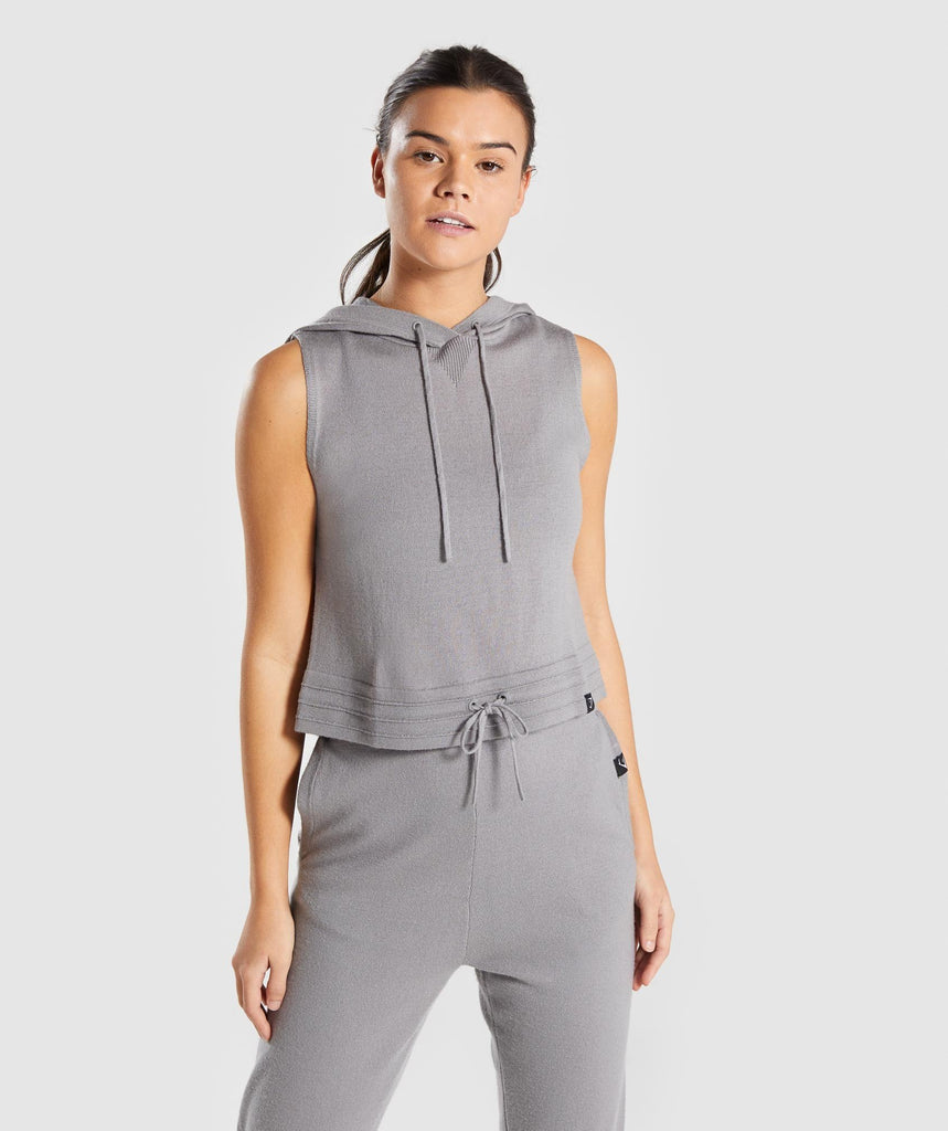 Gymshark Isla Knit Sleeveless Hoodie - Light Grey 1