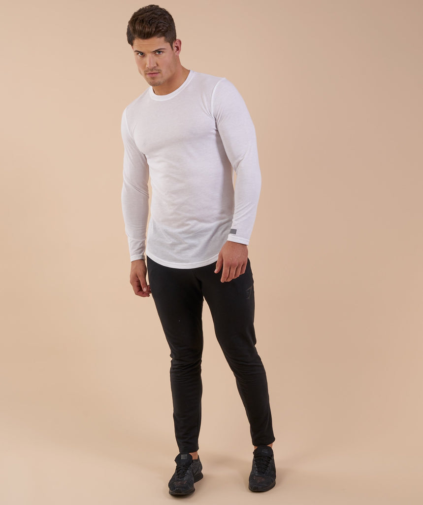 Perforated Longline Long Sleeve T-Shirt - White 1
