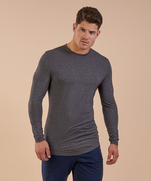 Gymshark Solace Longline Long Sleeve T-shirt - Charcoal Marl 3