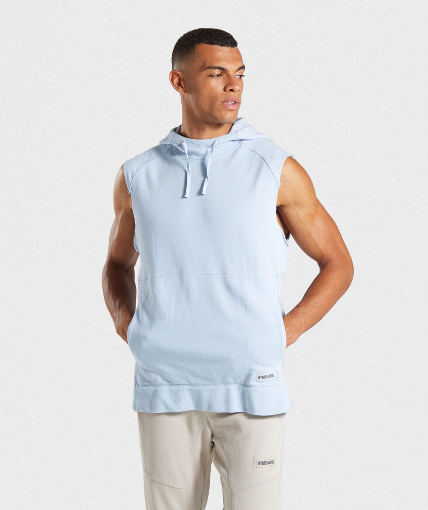 Gymshark Laundered Sleeveless Hoodie - Light Blue 1