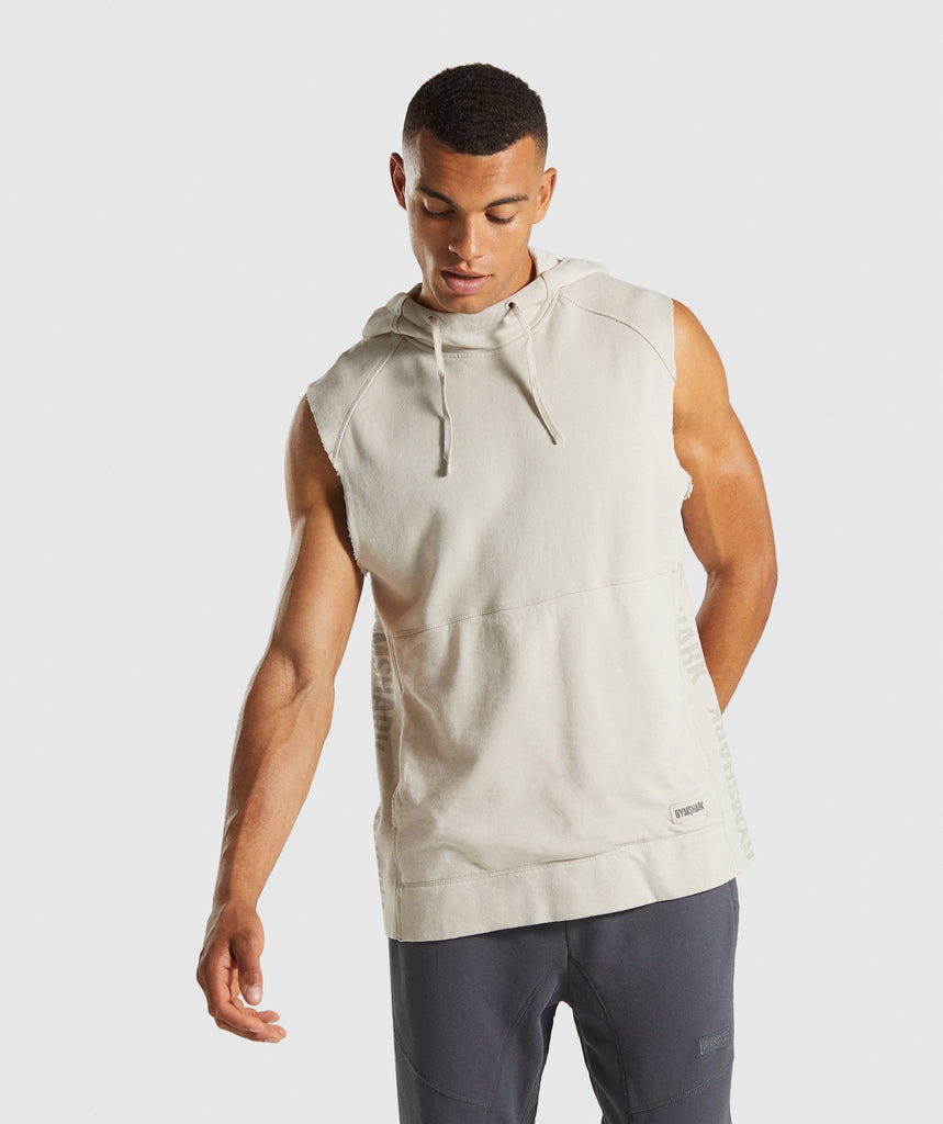 Gymshark Laundered Sleeveless Hoodie - Chalk Grey 1