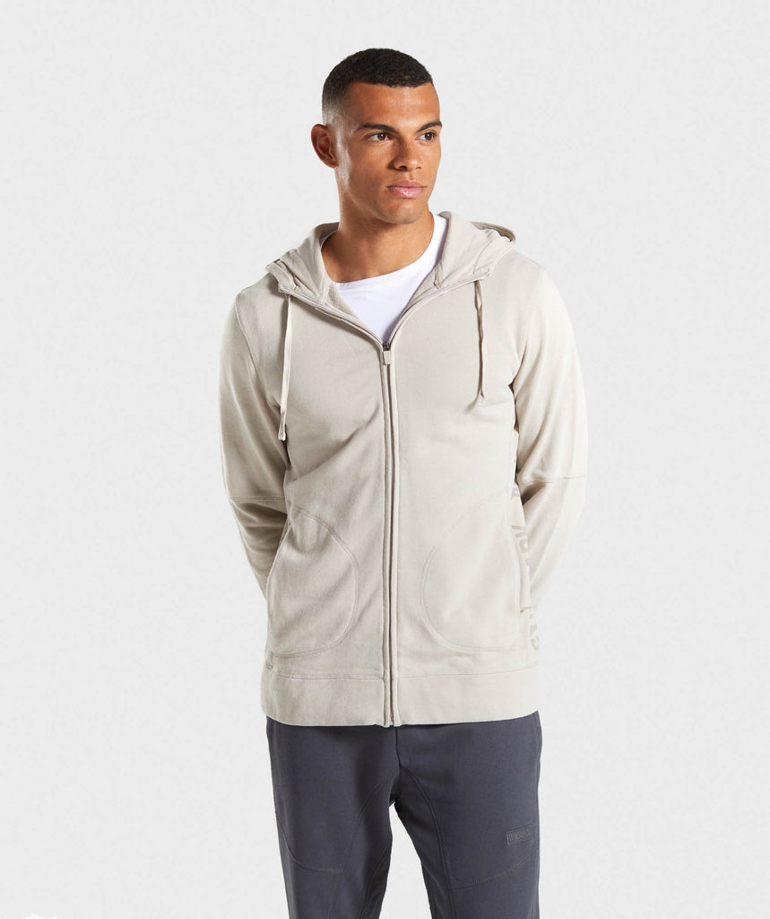 Gymshark Laundered Zip Hoodie - Chalk Grey 1