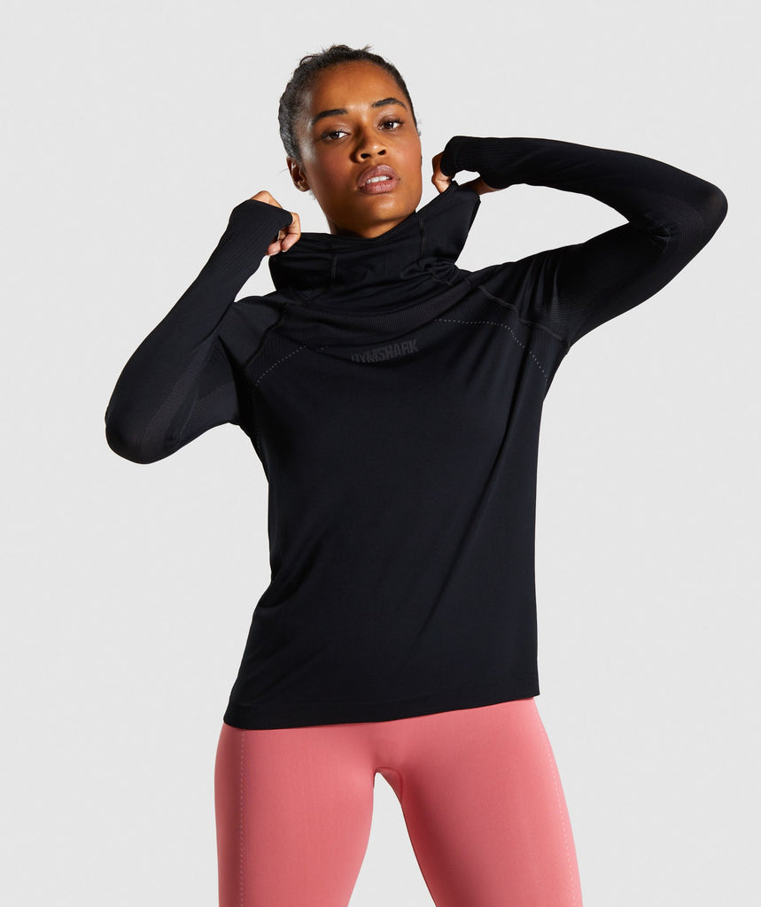 Gymshark Breeze Lightweight Seamless Hoodie - Black 1