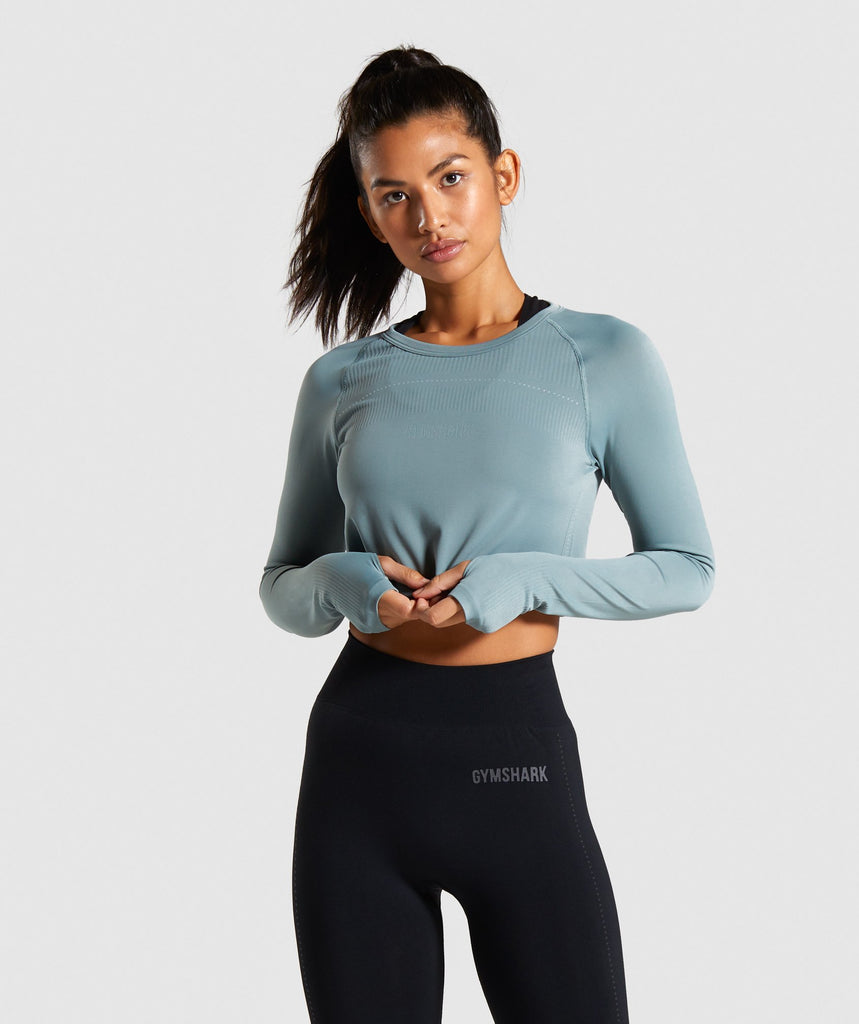 Gymshark Lightweight Seamless Long Sleeve Crop Top - Turquoise 1