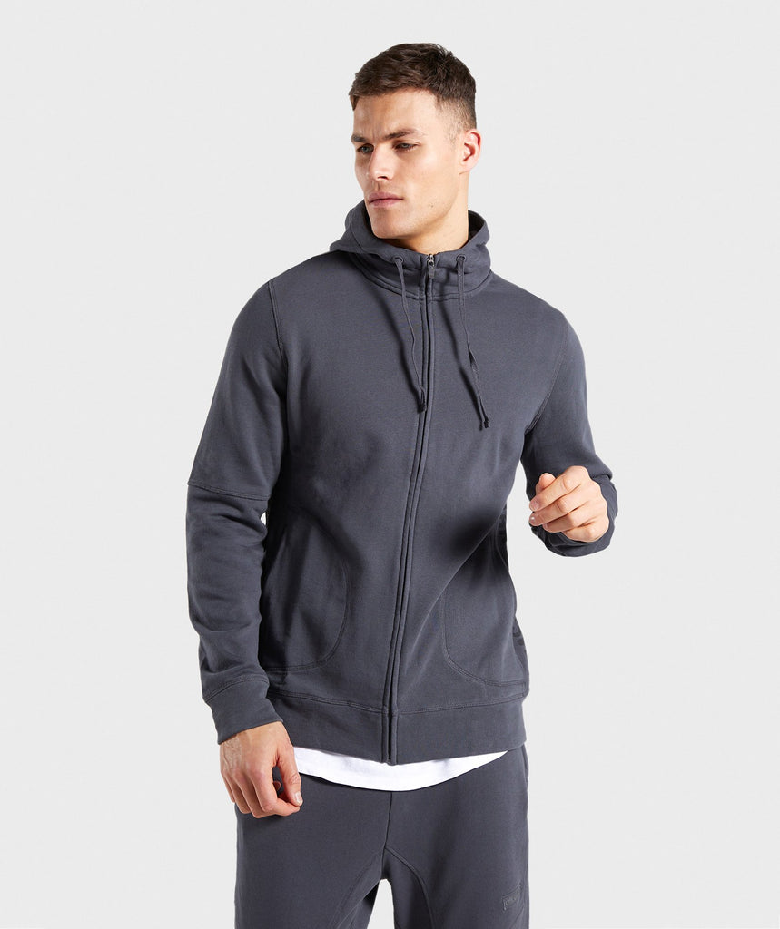 Gymshark Laundered Zip Hoodie - Charcoal 1