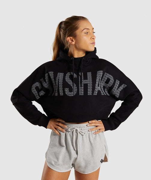 Gymshark Repeat Print Crop Pullover - Black 4