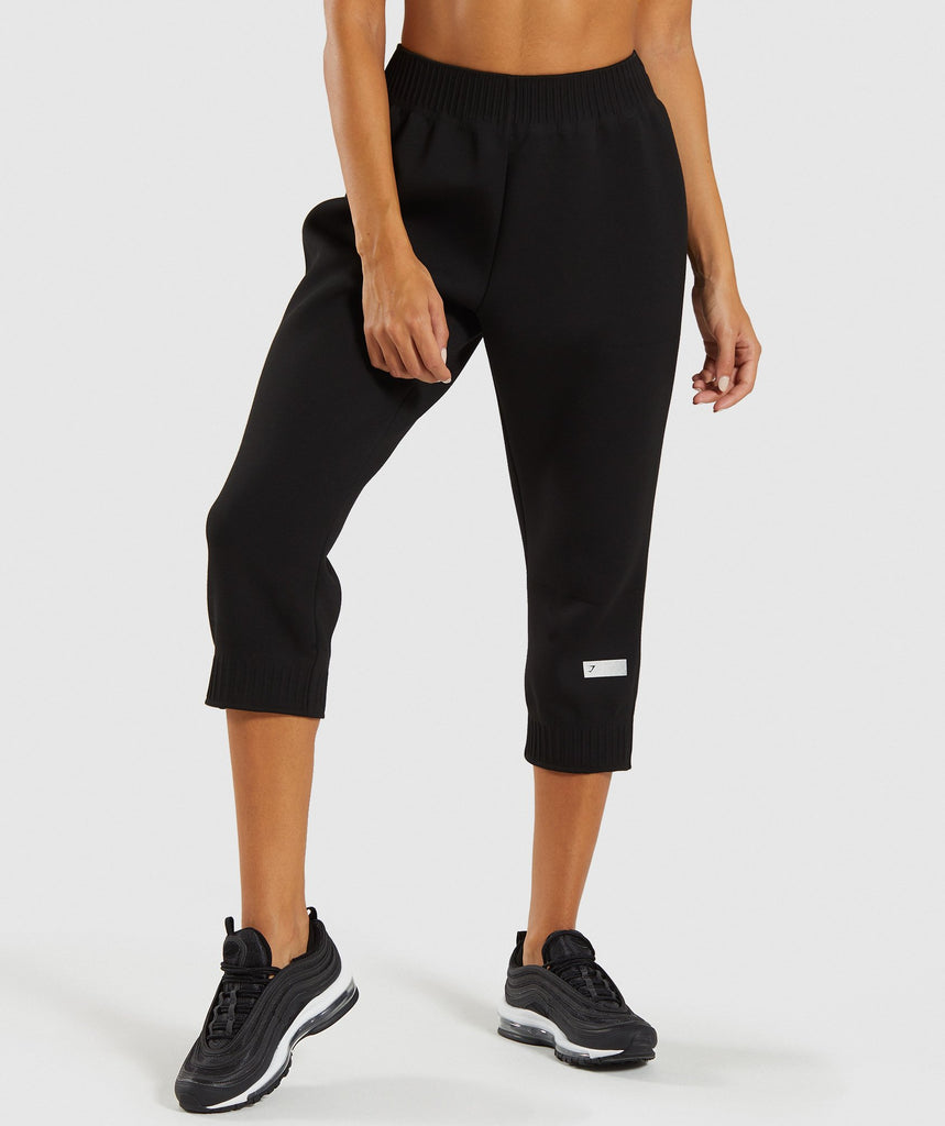 Gymshark Ruched Cropped Joggers - Black 4