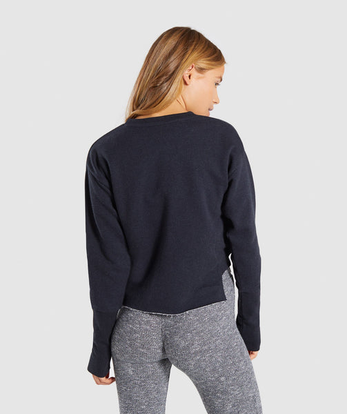 Gymshark Slounge Crescent Sweater - Black Marl 2