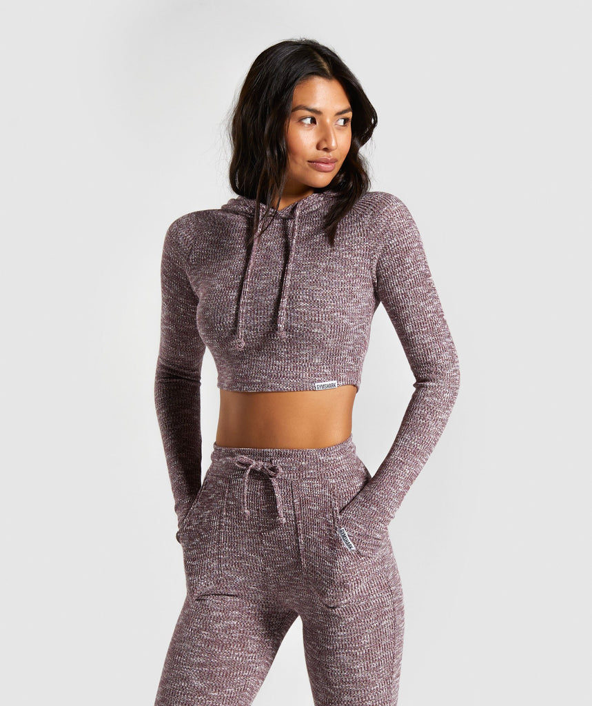Gymshark Slounge Cropped Hoodie - Berry Red Marl 1