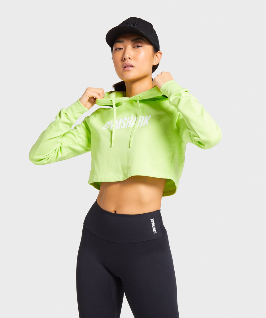Gymshark Training Cropped Hoodie - Lime 1