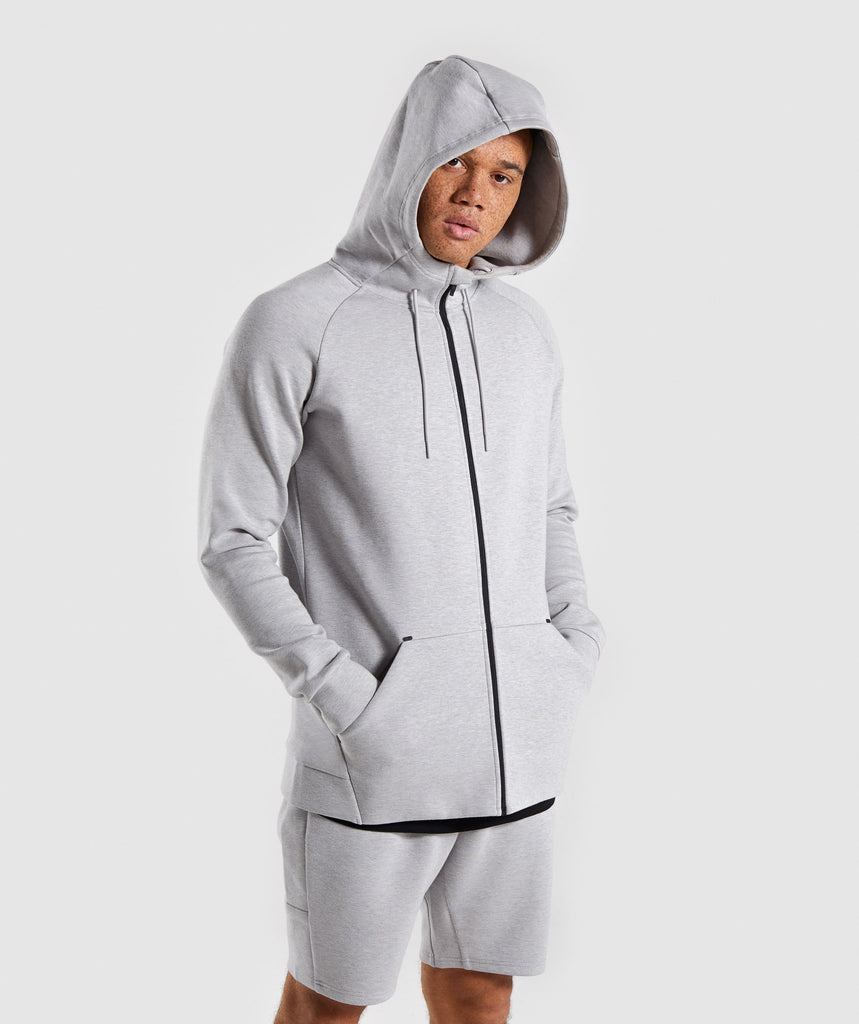 Gymshark Ultra Zip Hoodie - Light Grey Marl 1