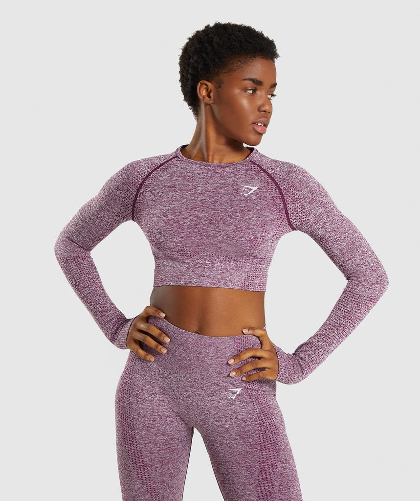 Gymshark Vital Seamless Long Sleeve Crop Top - Purple 1