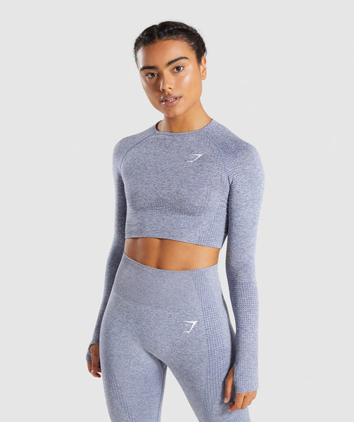 Full Length Steel Blue Marl Vital Seamless Long Sleeve Crop Top From Front 4