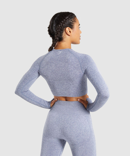 Full Length Steel Blue Marl Vital Seamless Long Sleeve Crop Top From Behind 1
