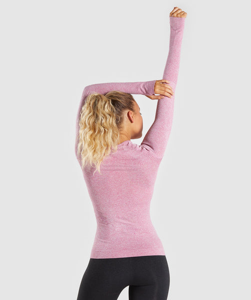 Full Length Dusty Pink Marl Vital Seamless Long Sleeve T-Shirt Back Stretch 1