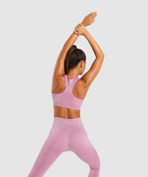 Full Length Dusty Pink Marl Vital Seamless Sports Bra Back Stretch 1