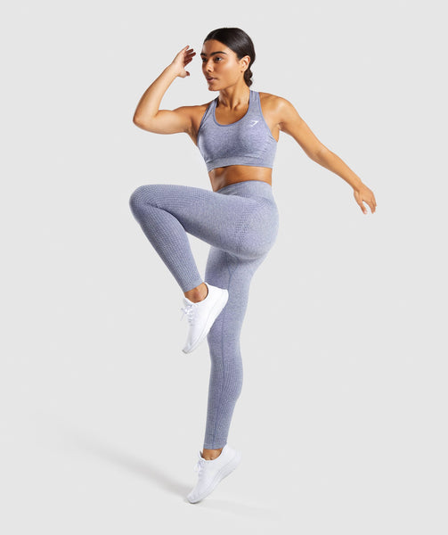 Full Length Side Profile Steel Blue Marl Vital Seamless Leggings Stretch 4