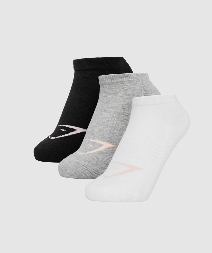 Gymshark Womens Ladies Trainer Socks (3pk) - White/Oyster White/Black 1