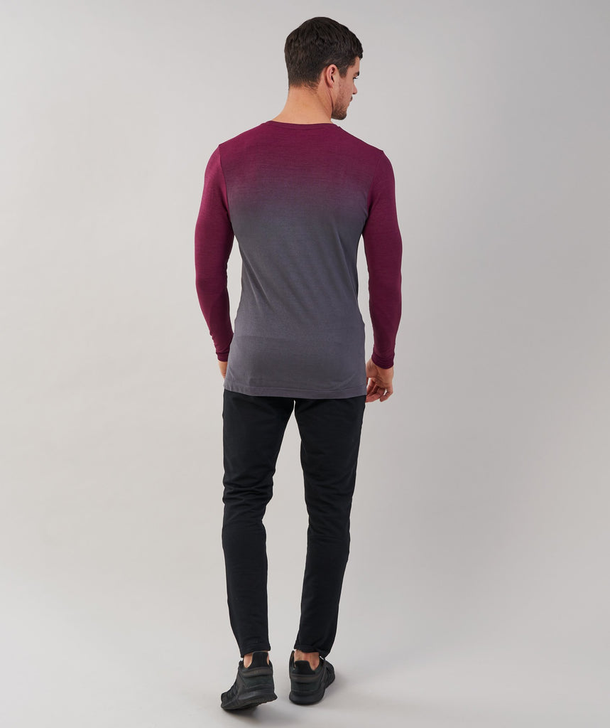 Gymshark Ombre Long Sleeve T-Shirt - Port/Charcoal 2