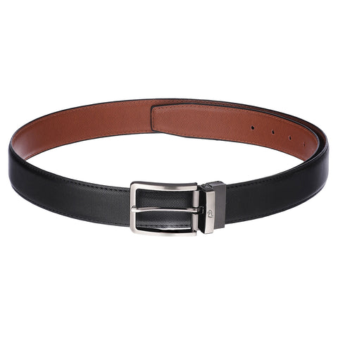 4253 Black & Tan Reversible Textured Belt for Men