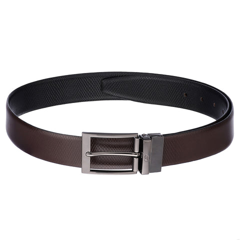 4265 Black & Brown Reversible Textured Leather Belt for Men