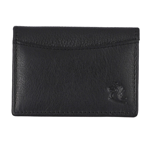 14032 Black Small Leather Card Holder for Men and Women