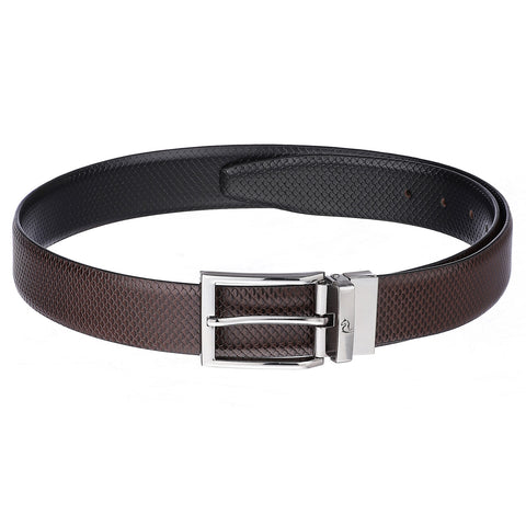 4264 Black & Brown Reversible Textured Leather Belt for Men