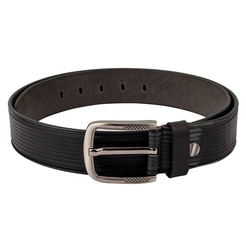 4164 Black Textured Leather Belt for Men