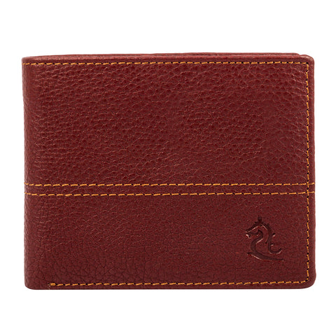 Maroon Contrast Stitched Wallet