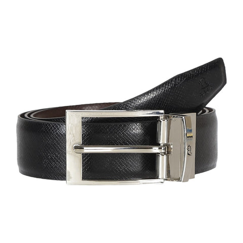 4177 Black & Brown Reversible Textured Belt