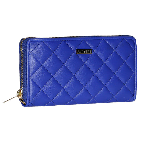 RNW-009 Blue Quilted Zip Around Wallet